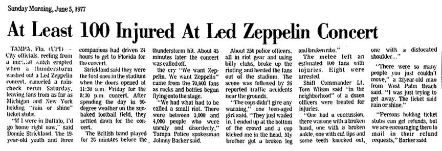 Image result for set list 1977 tampa led zep